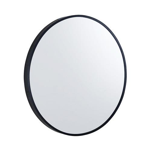 Black Round Aluminium Wall Mirror with Brackets
