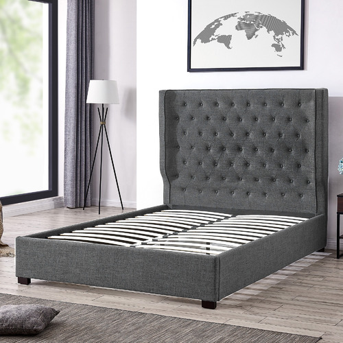 By Designs Charcoal Mika Upholstered Bed Frame