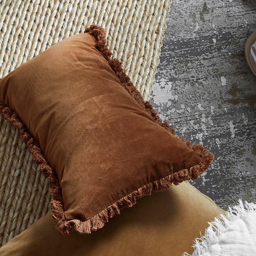 Bambury Fringed Cotton Velvet Breakfast Cushion