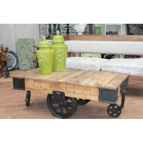 railway sleeper industrial cart coffee table | temple & webster