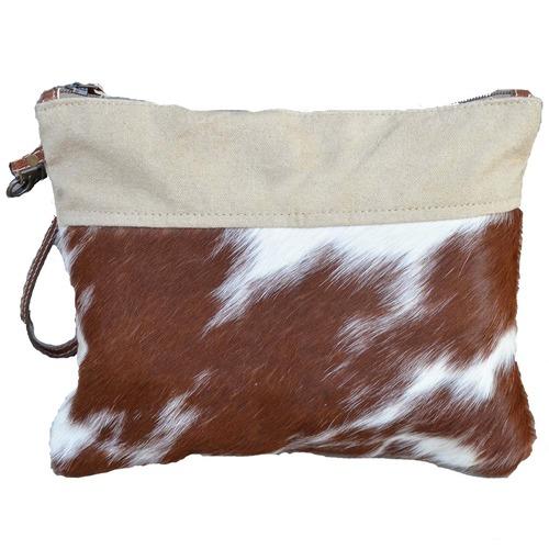 The Decor Store Camel Canvas & Cow Hide Clutch Bag