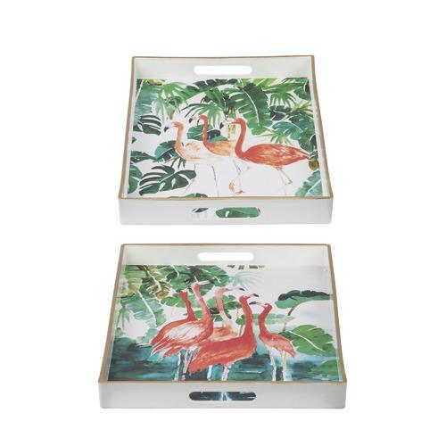 The Decor Store 2 Piece Flamingo Tray Set