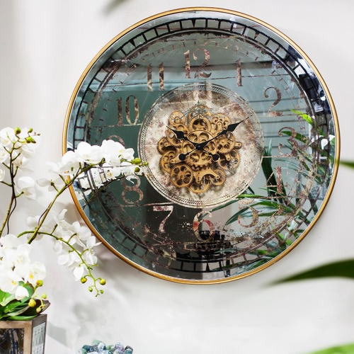 The Decor Store Mirrored Round Wall Clock - Batteries Not Included
