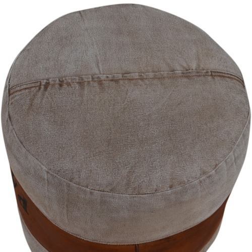 The Decor Store Adele Round Leather Ottoman