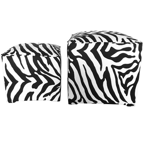 The Decor Store 2 Piece Monique Zebra Print Velvet Ottoman Set