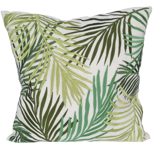 The Decor Store Green Leaves Square Cotton Cushion