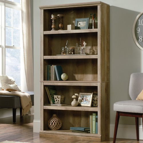 Sauder Oak Lintel 5 Shelf Bookcase