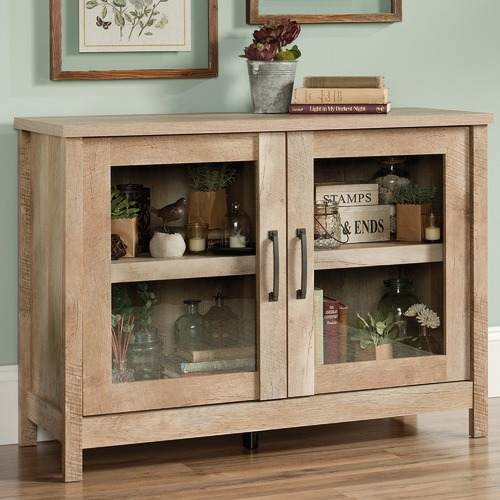 Sauder Light Timber Cannery Bridge Display Cabinet