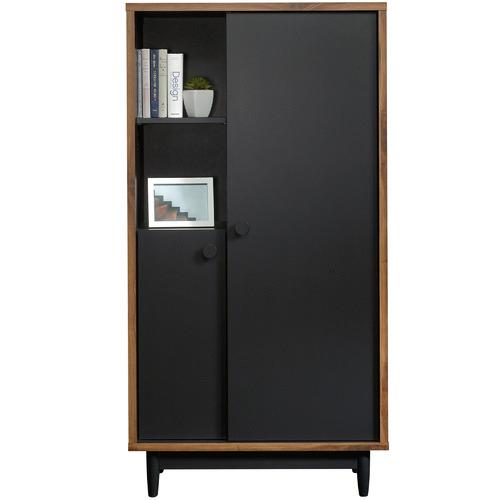 Sauder Black & Walnut Harvey Park Storage Cabinet