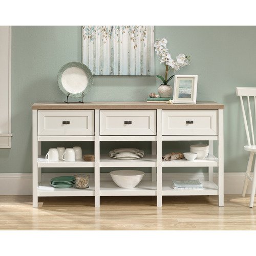 Sauder White & Natural Cottage Road Entertainment & Sideboard Unit