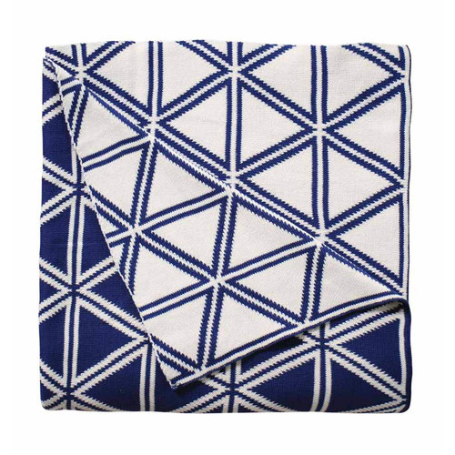 J. Elliot Wellington Navy Boxed Throw