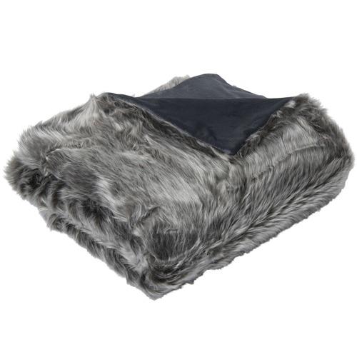 J. Elliot Grey Wolf Faux Fur Throw