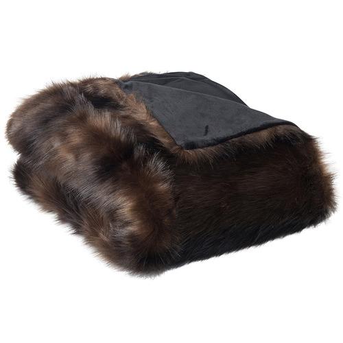 J. Elliot Dark Brown Sable Faux Fur Throw