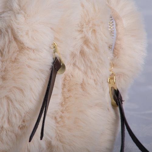 2 Piece Demi Faux Fur Cosmetic Pouch Set