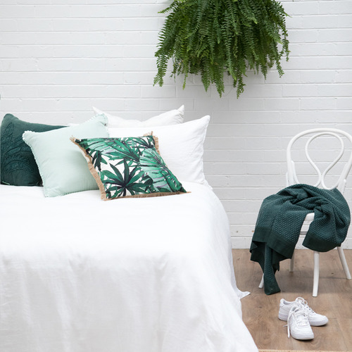J. Elliot Eden Green Norrie Embroidered Cotton Cushion