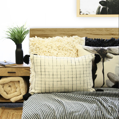 J. Elliot Ivory & Charcoal Floryn Cotton Cushion