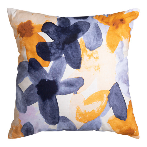 J. Elliot Mustard & Indigo Bloom Cotton Cushion