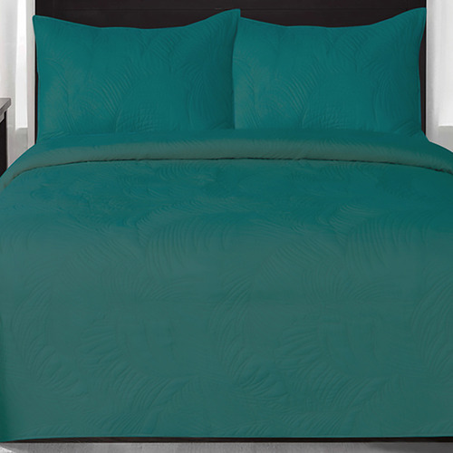 Peacock Blue Gemini Leaf Quilted Coverlet Set