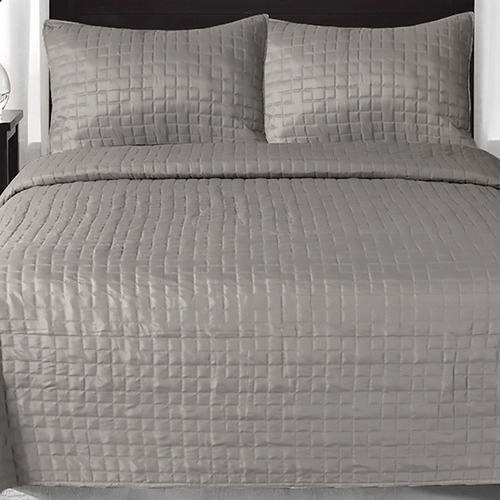 Grey Prism Checks Quilted Coverlet Set