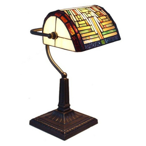 Tiffany Pieces Geometric Banker Table Lamp