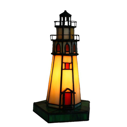 Tiffany Pieces Lighthouse Leadlight Table Lamp