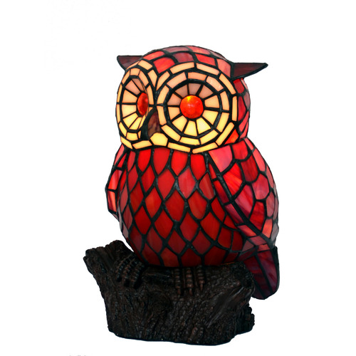 Tiffany Pieces Leadlight Owl Lamp