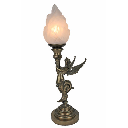 Tiffany Pieces Cold Cast Bronze Winged Siren With Frosted Glass Torch Flame Table Lamp