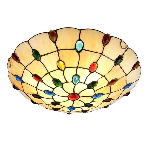 Tiffany Pieces Multi-Colour Jewels Flush Mount Ceiling Light