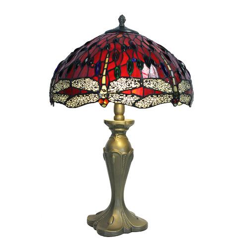 Tiffany Pieces Mahesh Leadlight Dragonfly Tiffany Table Lamp
