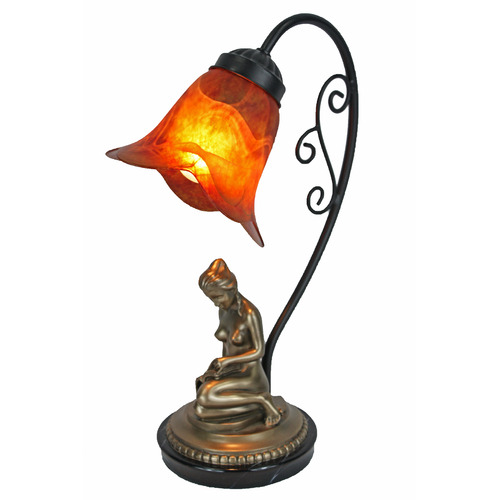 Tiffany Pieces Cold Cast Bronze Reading Girl Lamp Base with Amber Glass Shade