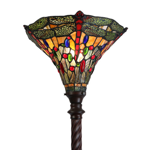 Tiffany Pieces Stained Glass Dragonfly Floor Lamp