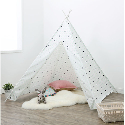 Happy Kids Large Check Teepee Tent