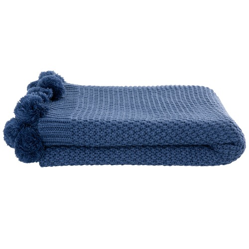 Kas Pom Pom Knitted Throw