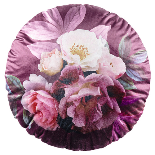 Kas Floral Blume Round Velvet Cushion