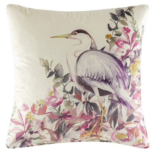 Kas Watercolour Bird Velvet Cushion