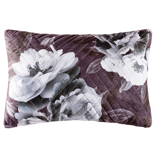 Kas Monochrome Beatrice Quilted Velvet Cushion