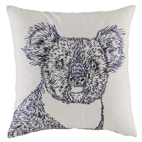 Kas Grey Embroidered Koala Cotton Cushion
