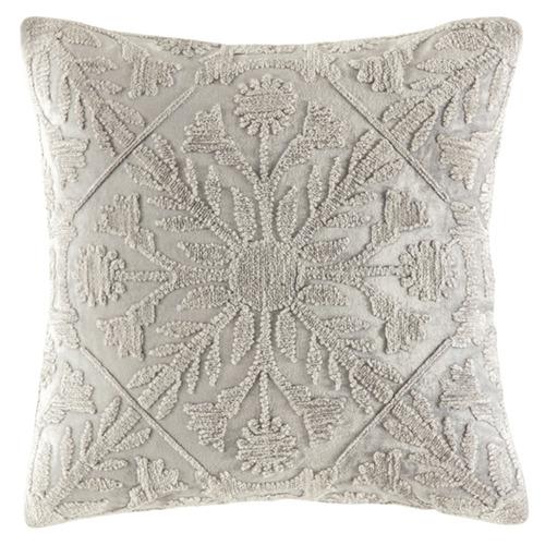 Kas Silver Tile Pattern Margo Velvet Cushion