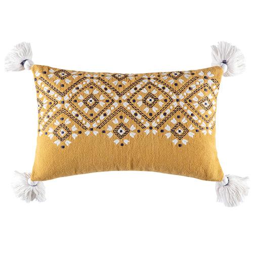 Kas Mustard Tasselled Morocco Cotton Cushion