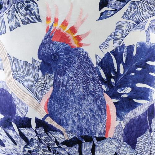 Kas Blue Cockatoo Cotton Cushion