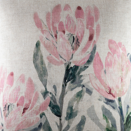 Kas Blush Floral Devils Linen-Blend Cushion