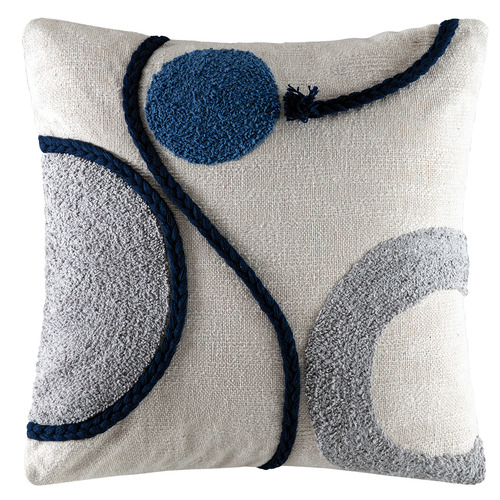 Kas Blue Geometric Alto Cotton Cushion