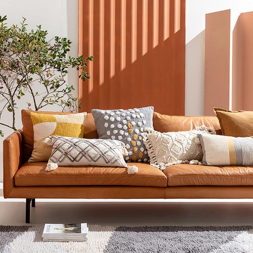 Kas Mustard Upton Cotton-Blend Cushion