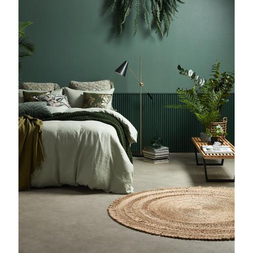 Kas Olive Quilted Salerno Velvet Cushion