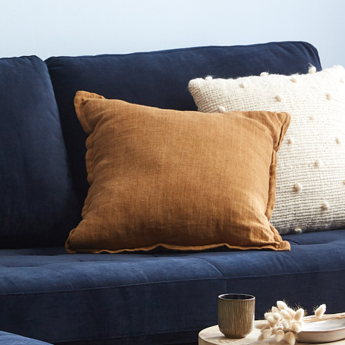 Kas Mustard Square Linen Cushion