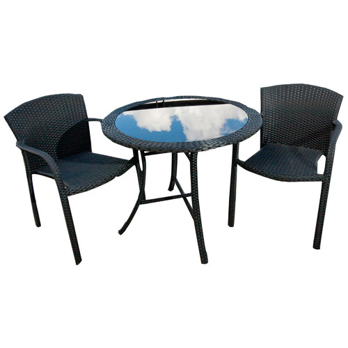 Pacific Outdoor Furniture Sino 3 Piece Pe Rattan Amp Glass Round Dining Set