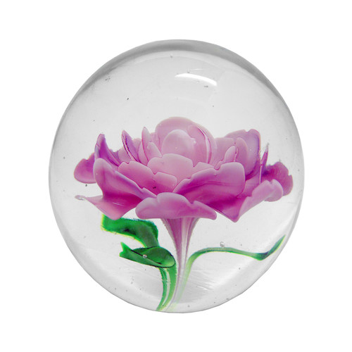 Rose Round Glass Ball Paperweight In Clear With Pink And
