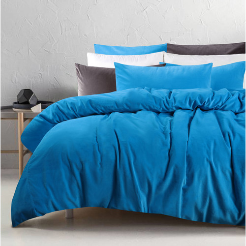 Accessorize Peacock Blue Cotton Velvet Quilt Cover Set