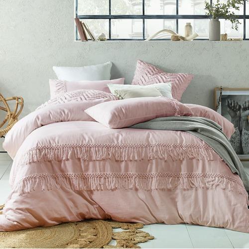 Accessorize Blush Boho Tassels Linen Blend Quilt Cover Set