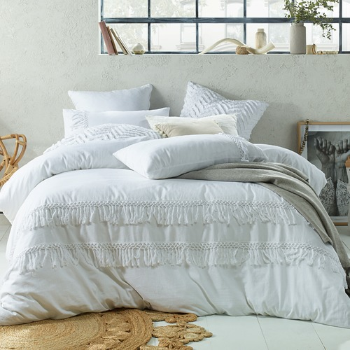 White Boho Tassels Linen Blend Quilt Cover Set Temple